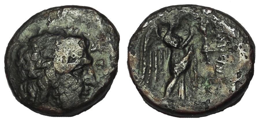 Ancient Coins - Calabria, Tarentum. Circa 281-209 BC. Æ Obol, Very Rare