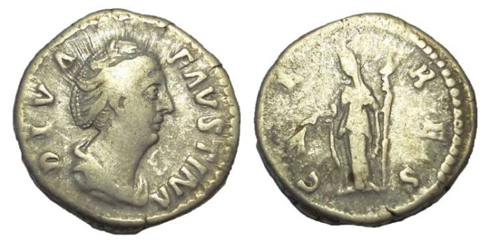 Ancient Coins - Diva Faustina Senior, wife of Antoninus Pius.  After 141 AD.  AR Denarius