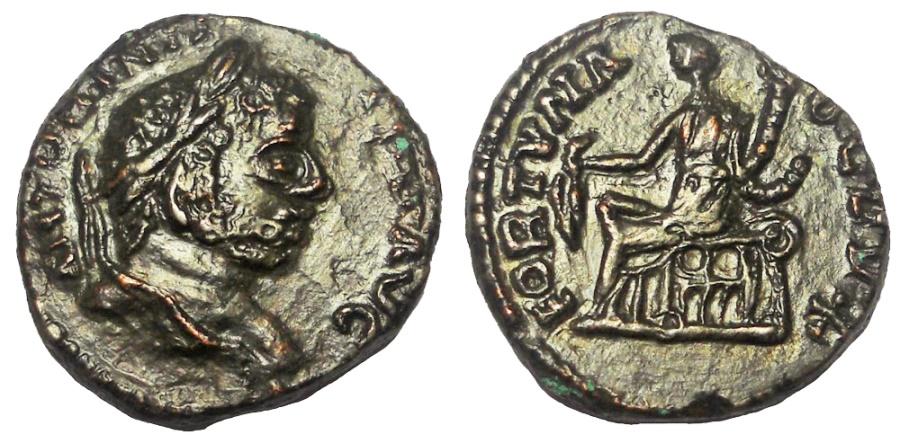 Ancient Coins - CARACALLA, 198-217 AD. AE LIMES DENARIUS, FORTUNA REVERSE