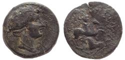 Ancient Coins - Corinthia. Corinth. 34-31 BC. Æ 22. Bellerophon on Pegasus. Rare.