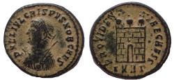 Ancient Coins - Crispus, AD 324-325. Æ Campgate Follis.