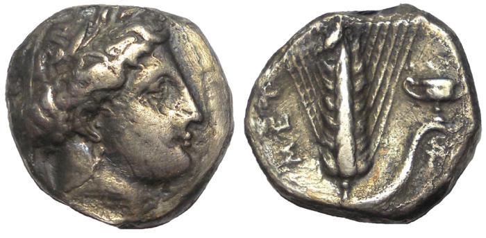 Ancient Coins - Lucania: Metapontum, ca. 4th Century BC.  AR Stater