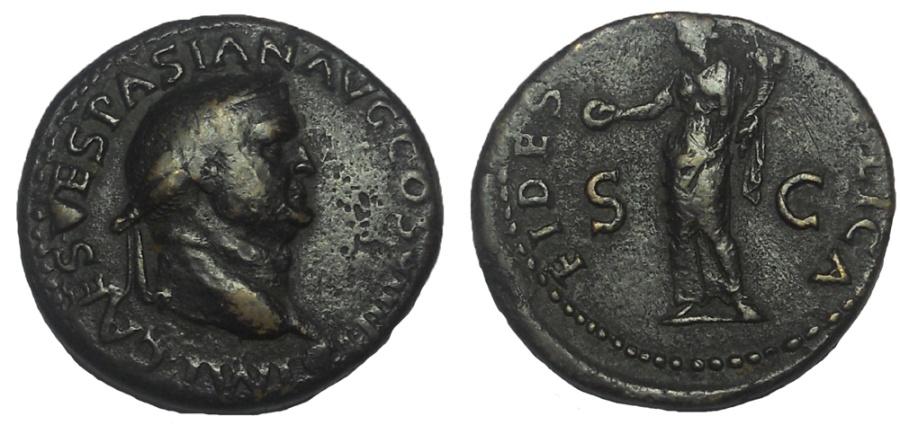 Ancient Coins - Vespasian. AD 69-79. Æ Dupondius