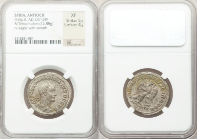 Ancient Coins - Syria, Antioch: Philip II, 247-249 AD. Billon tetradrachm, EF