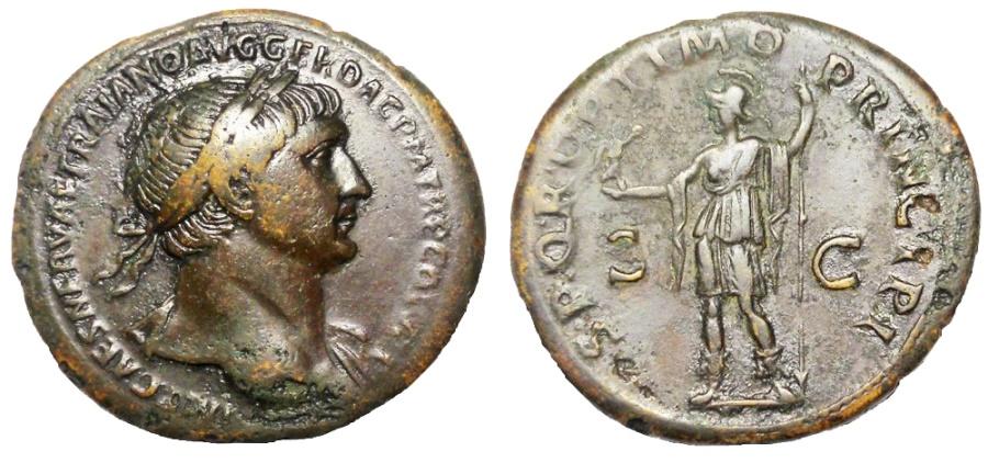 Ancient Coins - TRAJAN, 98-117 AD. AE SESTERTIUS, ROMA REVERSE
