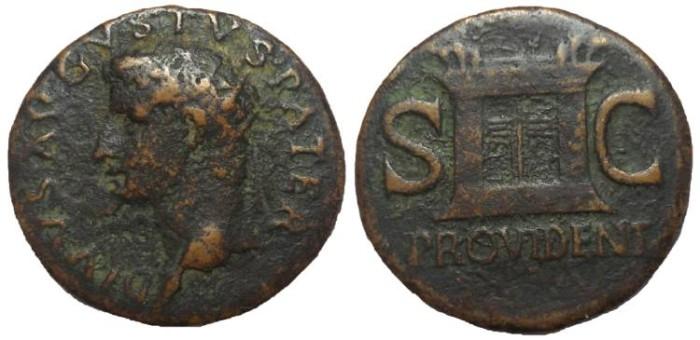 Ancient Coins - Divus Augustus, 27 BC-14 AD.  Struck under Tiberius. Æ Dupondius