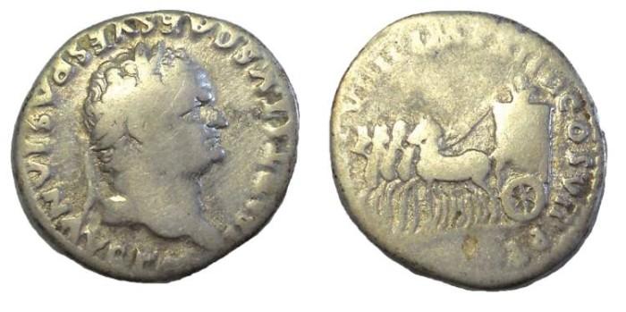 Ancient Coins - Titus, 79-81 AD. AR Denarius.  Quadriga Reverse.