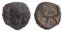 Ancient Coins - Nabataea. Aretas IV, with Shaqilat. 9 BC-AD 40. Æ Drachm