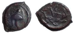Ancient Coins - Sicily, The Kampanoi. Mercenaries in the Aitna area. Circa 344-336 BC. Æ 13