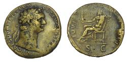 Ancient Coins - DOMITIAN 81-96 AD. Æ Sestertius, EX Spink