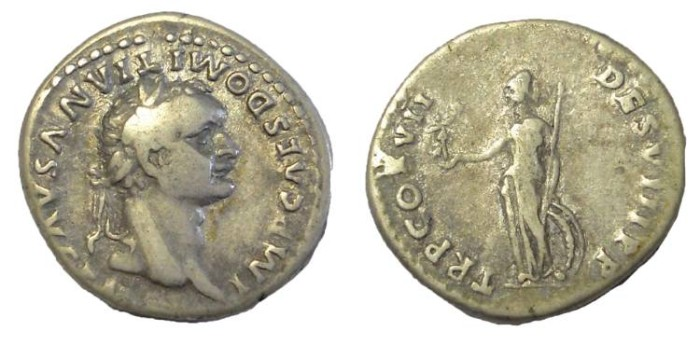 Ancient Coins - Domitian, 81-96 AD, AR Denarius.  Minerva Reverse