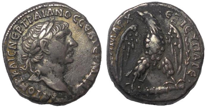 Ancient Coins - Phoenicia, Tyre: Trajan, 98-117 AD.  AR Tetradrachm