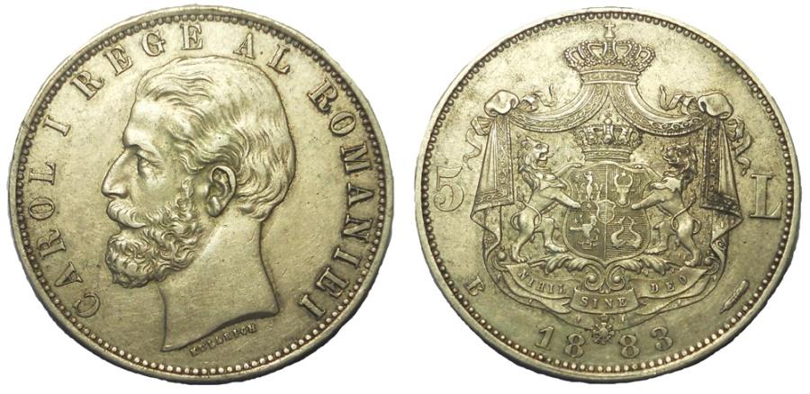 World Coins - ROMANIA: CAROL I, 1866-1914. 5 LEI, DATED 1883, EF