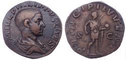 Ancient Coins - Philip II as Caesar (AD 244-247). AE sestertius