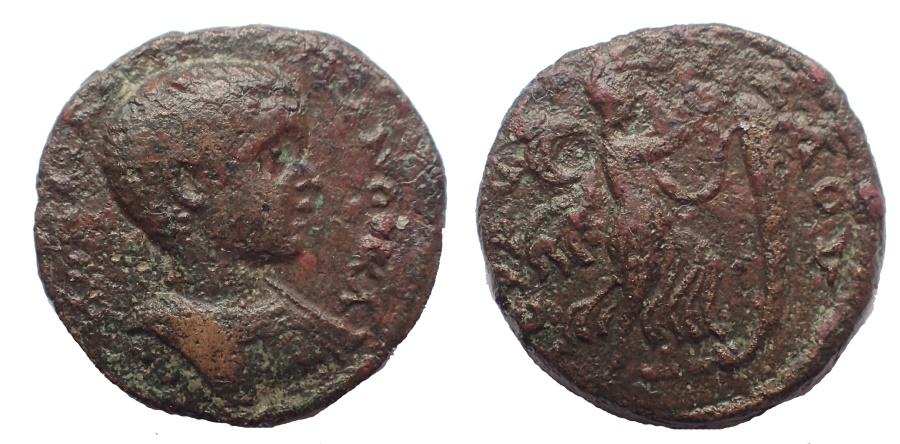 Ancient Coins - Phoenicia, Byblus. Diadumenian. As Caesar, AD 217-218. Æ 20