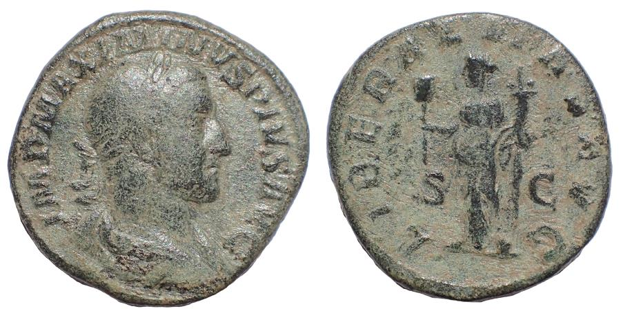 Ancient Coins - Maximinus I. AD 235-238. Æ Sestertius. Rome mint. Special emission for the consulship, AD 236