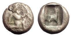Ancient Coins - Achaemenid Empire. Time of Xerxes II to Artaxerxes II. Circa 420-375 BC. AR 1/4 Siglos. Rare.