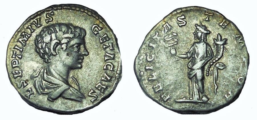 Ancient Coins - Geta. As Caesar, AD 198-209. AR Denarius