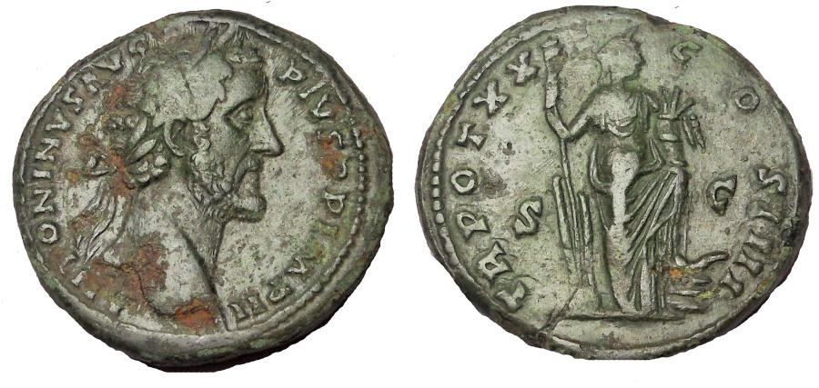 Ancient Coins - Antoninus Pius.138-161 AD. Æ Sestertius