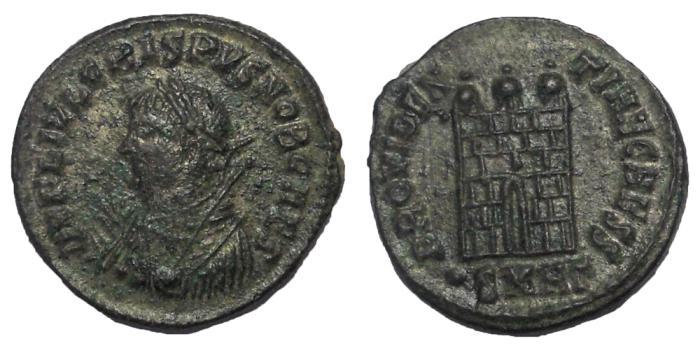 Ancient Coins - Crispus, 317-326 AD.  AE Follis, Camp Gate Reverse