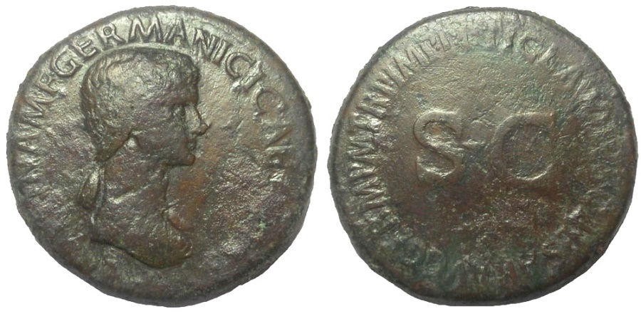 Ancient Coins - Agrippina Senior, wife of Germanicus, died 33 AD. AE Sestertius