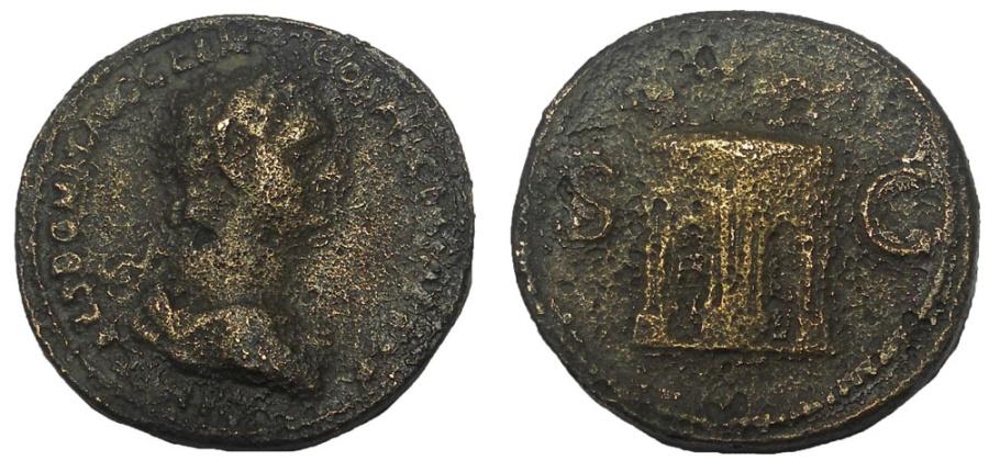 Ancient Coins - Very Rare Domitian Triumphal Arch Sestertius