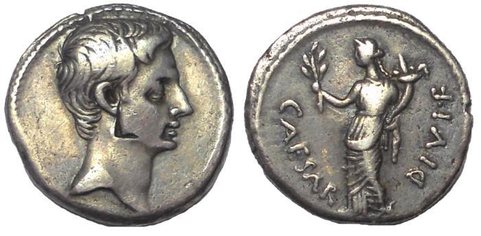 Ancient Coins - Octavian, 31-30 BC.  AR Denarius, Pax Reverse