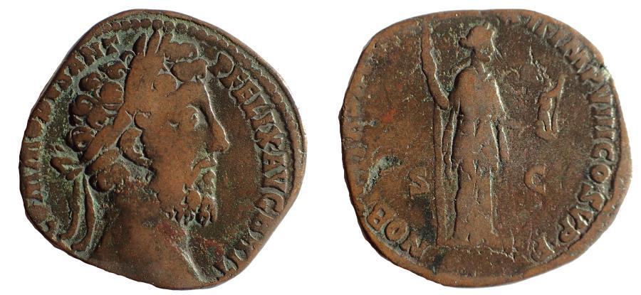 Ancient Coins - Commodus sestertius, 177 - 192 AD. Rare.