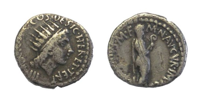 Ancient Coins - Marc Antony. 38 BC. AR Denarius
