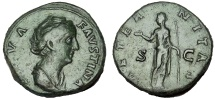 Ancient Coins - Diva Faustina Sr., wife of Antoninus Pius. Died 141 AD. Æ Sestertius