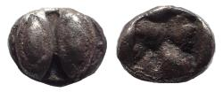 Ancient Coins - Lesbos, Unattributed Koinon mint. Circa 525-513 BC. Ar Forty-eighth Stater. Rare.