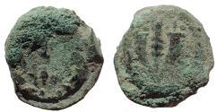 Ancient Coins - Judaea, Hasmoneans. Mattathias Antigonos. 40-37 BC. Æ Prutah