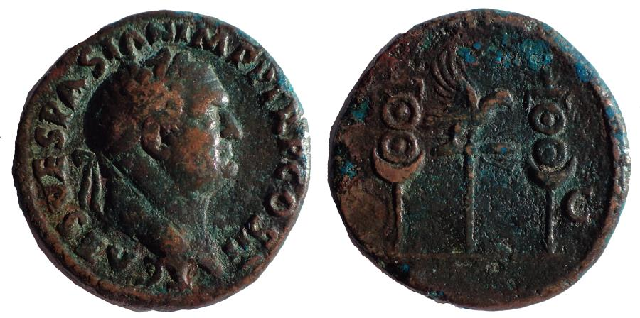 Ancient Coins - Titus, as Caesar AD 76-78. Ae As. Very Rare.