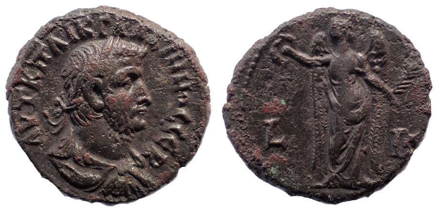 Ancient Coins - Egypt, Alexandria: Gallienus, 260-268 AD. Billon Tetradrachm. Exceptional portrait