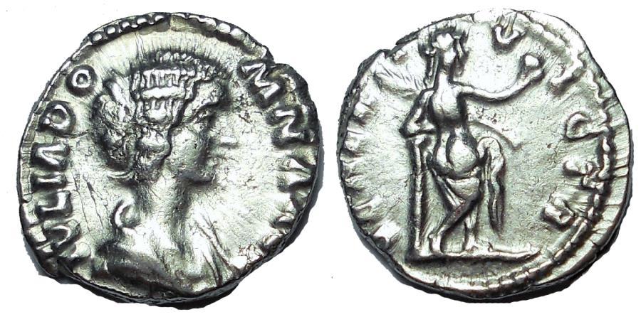 Ancient Coins - Julia Domna, AD 193-217. AR denarius, Venus Victrix