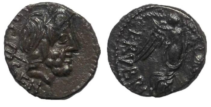 Ancient Coins - L. Rubrius Dossenus, 87 BC. AR Quinarius.  Nicely Toned