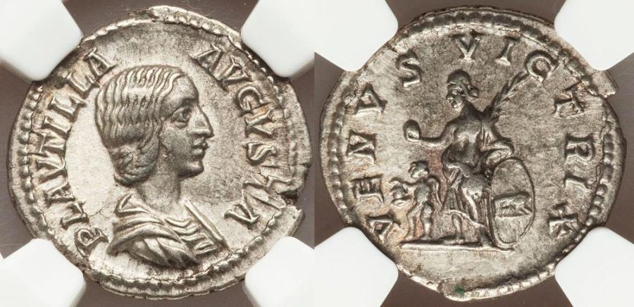 Ancient Coins - Plautilla, wife of Caracalla, Augusta, 202-212 AD. AR denarius, EF