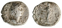 Ancient Coins - The Deified Faustina Senior, Wife of Antoninus Pius (Died A.D. 141), AR Denarius