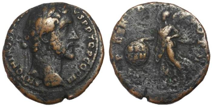 Ancient Coins - Antoninus Pius, 138-161 AD. AE As, Victory over Britain Reverse.  Rare