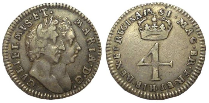 Ancient Coins - William III and Mary II, 1688-1694. AR Fourpence