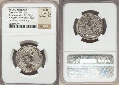 Ancient Coins - Antioch. Caracalla (AD 198-217). tetradrachm, Choice EF