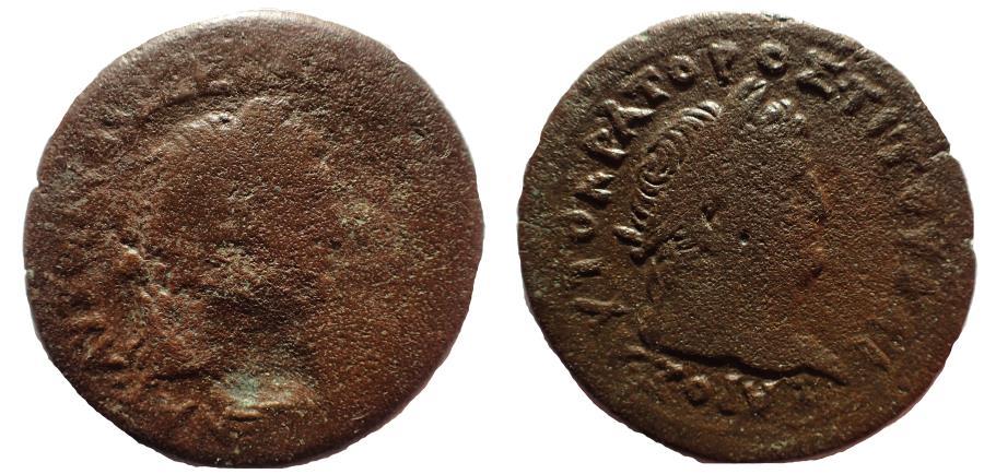 Ancient Coins - Egypt, Alexandria. Vespasian, with Titus as Caesar. AD 69-79. Æ Drachm