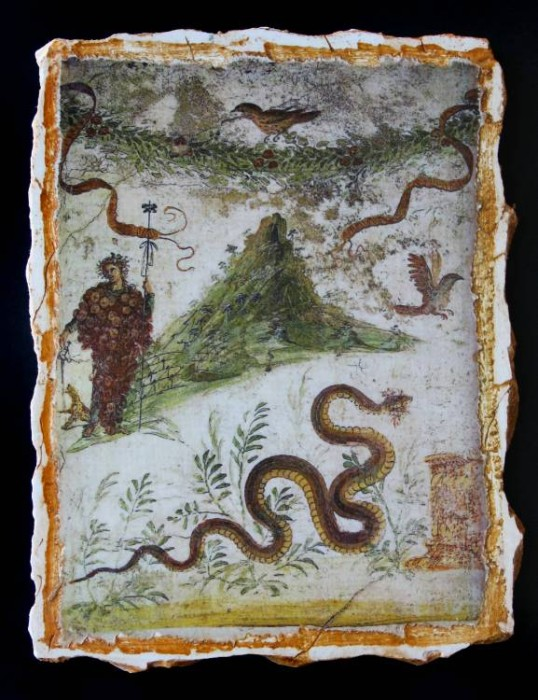 Ancient Coins - Dionysus & Mount Vesuvius Reproduction Fresco