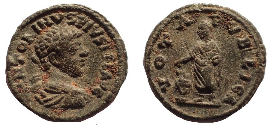 Ancient Coins - CARACALLA. AD 198-217. AR DENARIUS, ORIGINAL FIND PATINA, RARE.