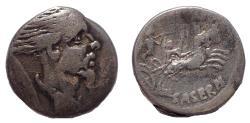 """Ancient Coins - L. Hostilius Saserna, (48 B.C.), Ar denarius """"Vercingetorix"""". Rare."""