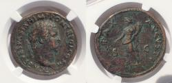Ancient Coins - Titus, as Caesar, A.D. 69-79. AE Sestertius. Very Rare Obverse legend variant.
