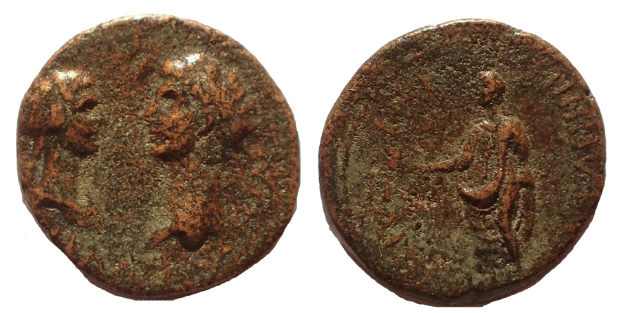 Ancient Coins - LYDIA, TRALLEIS, CLAUDIUS, MESSALINA AND BRITTANICUS, AD 43-49. AE19 VERY RARE.