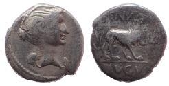 Ancient Coins - The Triumvirs. Mark Antony. Late summer-autumn 43 BC. AR Quinarius