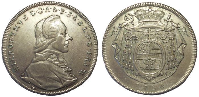 World Coins - Salzburg, Austria: Hieronymus von Colloredo-Waldsee, 1772-1803. AR Thaler, VF+
