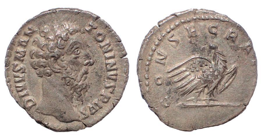 Ancient Coins - Divus Marcus Aurelius. Died AD 180. AR Denarius